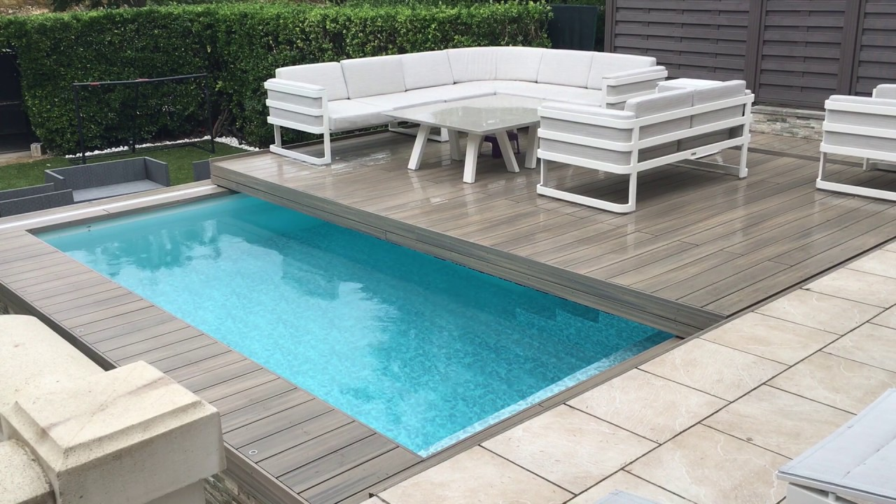Innovation terrasse coulissante sur piscine  Jardin Passions  YouTube