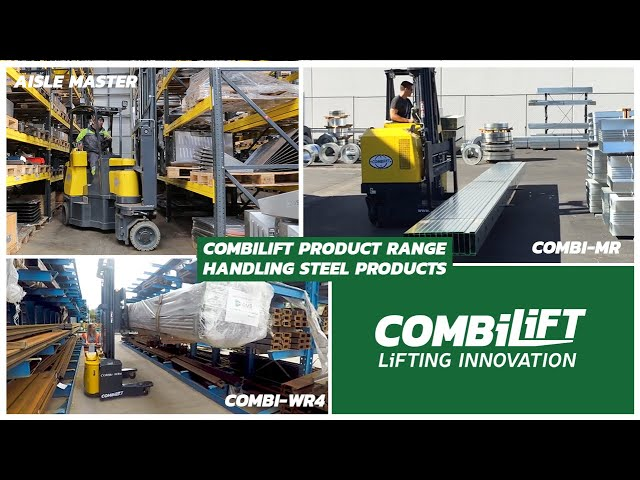 Combilift Product range - Combi WR4, Combi MR and Aisle Master handling steel products - long loads