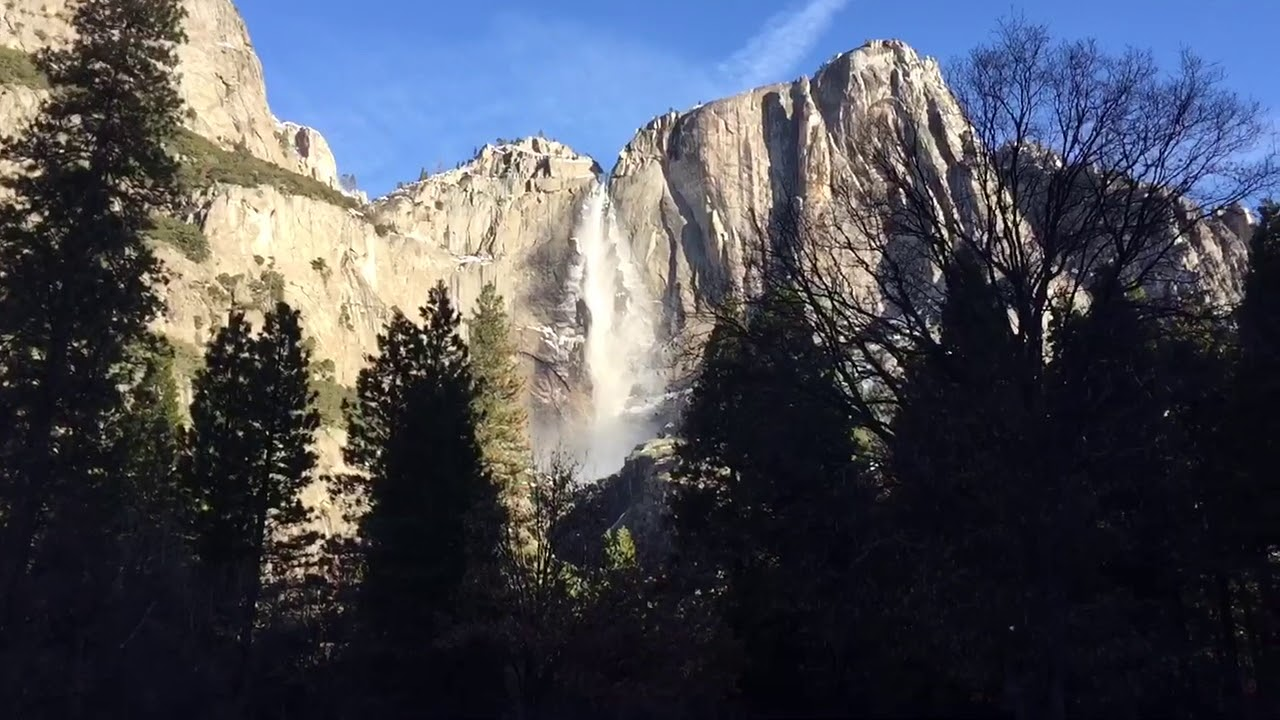 view of yosemite falls from yosemite valley lodge youtube
