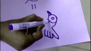 """Learn how to draw a bird using alphabet """"q"""""""