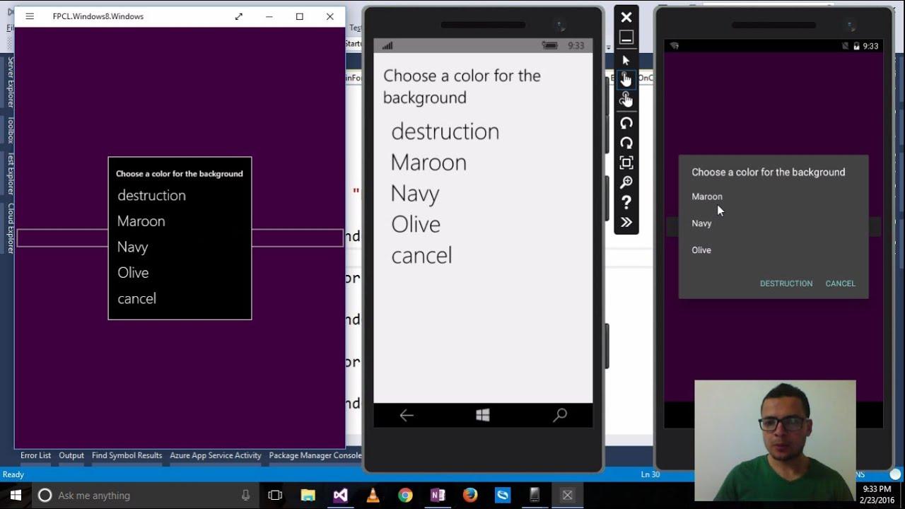 Xamarin Forms with Visual Studio Part 19 [DisplayActionSheet, Menu]
