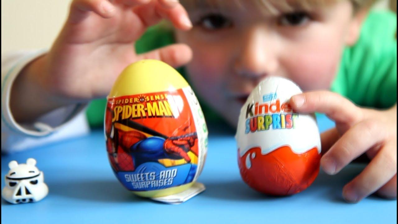 Spider-Man Egg vs Kinder Surprise Egg - video - Kinder Sorpresa ...