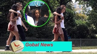 Malia Obama shares a kiss with Rory Farquharson in Paris in a mini-dress before concert