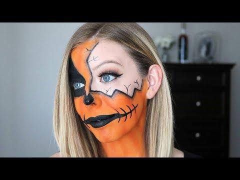 Cracked Pumpkin Makeup Halloween Tutorial