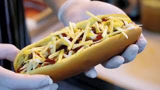 Making of a Hot Dog   Loaded Restaurant, Dubai