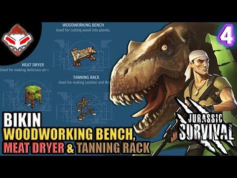 Jurassic Survival - (4) Bikin Woodworking Bench, Meat Dryer & Tanning Rack