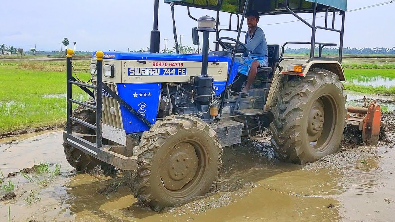Swaraj 744 Fe 4wd Tractor puddling performance | Shaktiman Rotary tiller | Part - 02