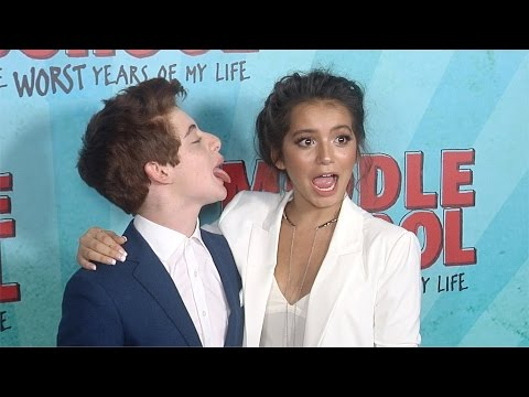 "Isabela Moner & Thomas Barbusca Awkward Moment ""Middle School: The Worst Years of My Life"" Premiere"