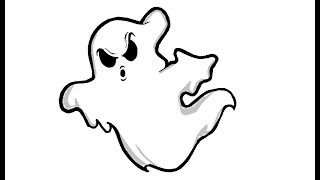 Simple way to Draw a Cute Ghost - For Kids