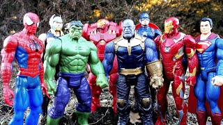Hulk vs Thanos vs Spiderman vs Hulkbuster vs Thor vs Iron Man vs Superman Marvel fight!