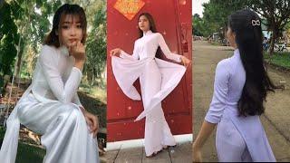#96: Nữ sinh và áo dài trắng thời đại 4.0   xinh đẹp   tinh nghịch   Tik Tok.