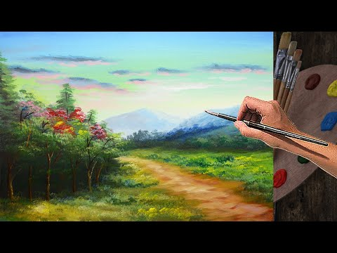PAINTING TUTORIAL ACRYLIC – 21 PART 2 | How to paint landscape during sunrise | BEGINNERS