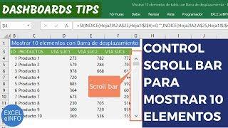 Mostrar 10 elementos con Barra de desplazamiento o Scroll bar en Excel - Dashboards Tips @EXCELeINFO