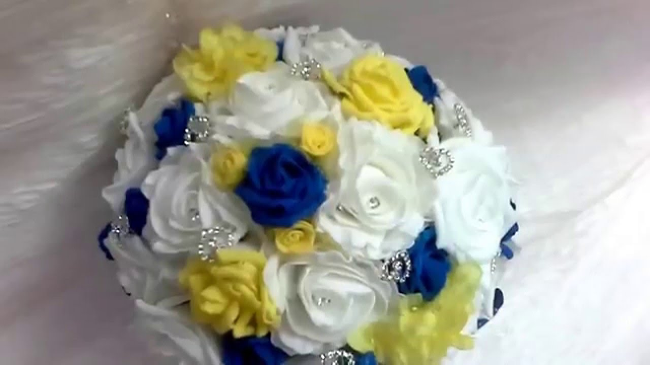 Royal Blue And Yellow Bridal Bouquet Youtube