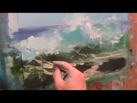 Seascape oil painting . Morning surf. Part 1.