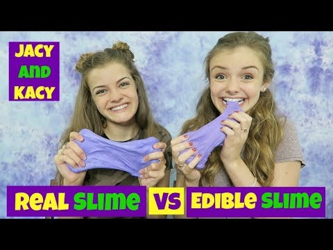 Real Slime vs Edible Slime Challenge ~ Jacy and Kacy