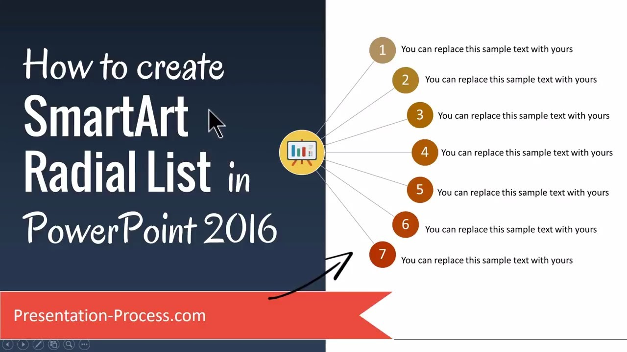 how to create smartart radial list in powerpoint 2016