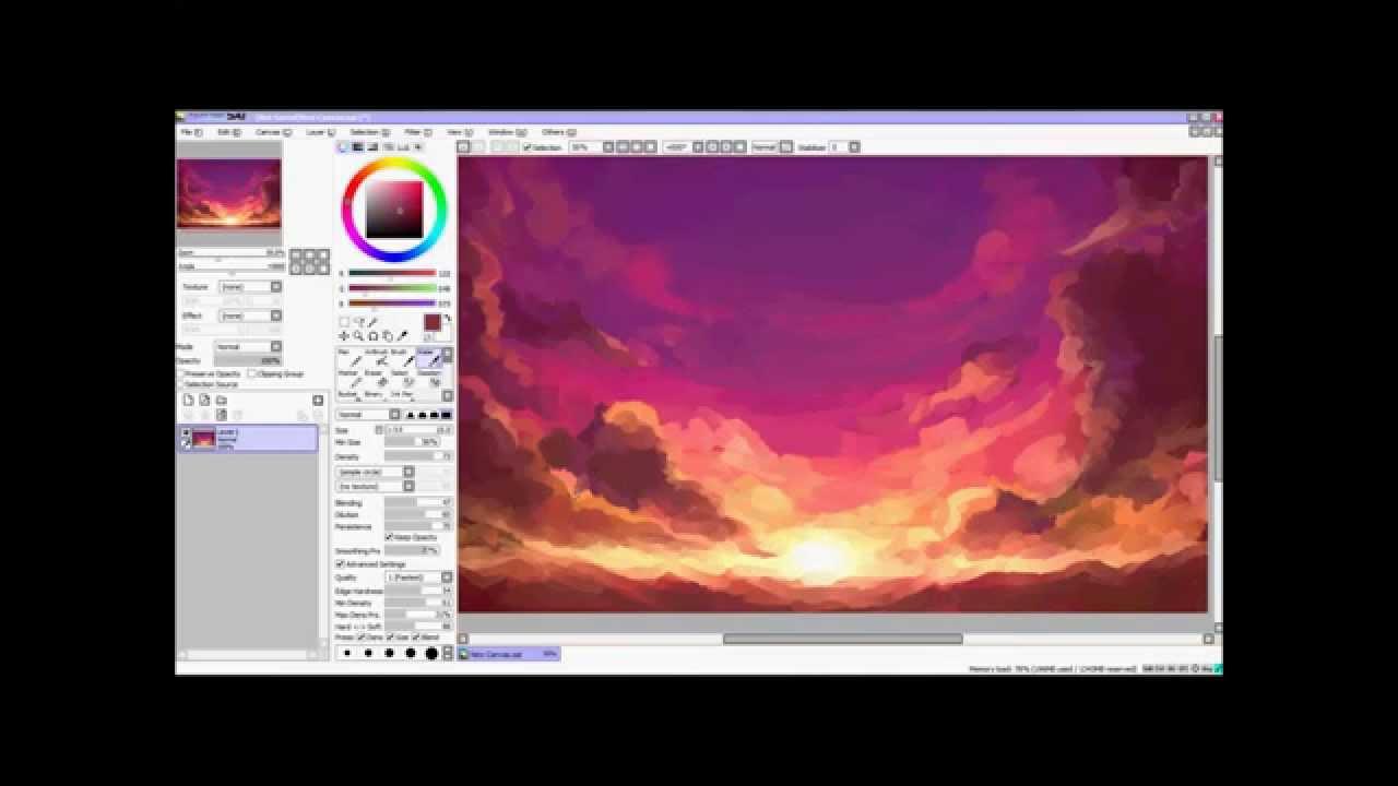 How To Draw A Sky Paint Tool Sai