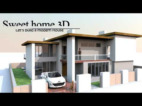 Modern house in sweet home 3d youtube for Sweet home 3d arredamento