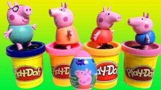 Peppa pig Surprise eggs & Play doh unboxing eggs Huevos sorpresa