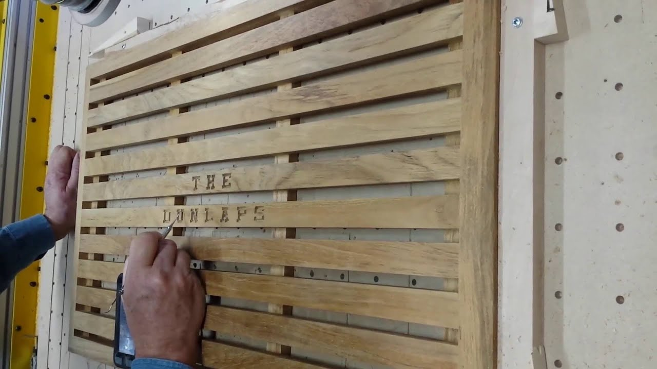 Charmant Carving Name Onto Teak Door Mat For Wedding Gift. Part 2 Of 2.
