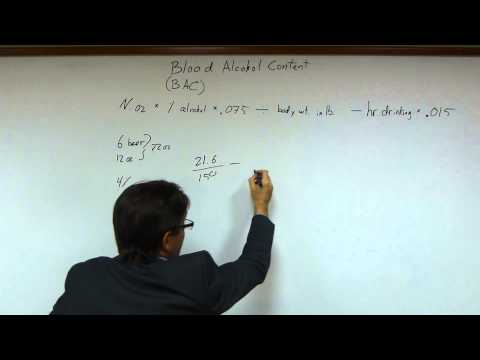 How To Calculate Blood Alcohol Content