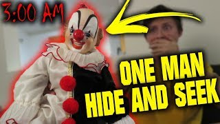 (IT MOVES) POSSESSED CLOWN DOLL ONE MAN HIDE AND SEEK AT 3 AM CHALLENGE!!