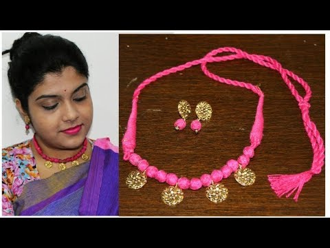 How To Make Beautiful Cotton Beads And Golden Oxidised Necklace