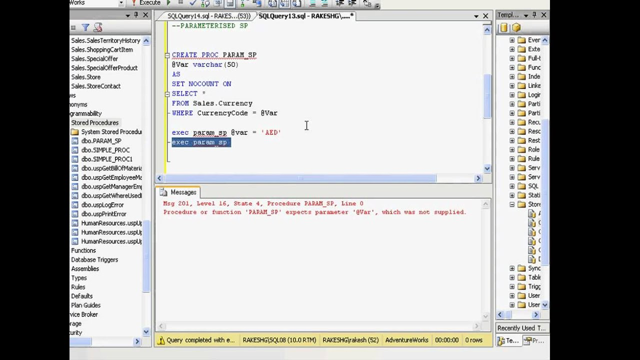 Sql 2008 Series Introduction To Stored Procedures Youtube