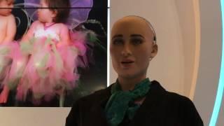 lifelike ai robot sophia from hanson robotics at global sources electronics show