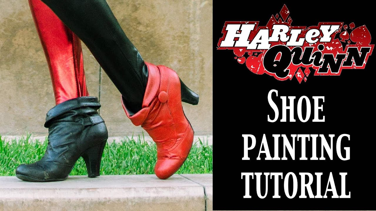 b2de3a8dacb39f Harley Quinn Costume Tutorial - Painting Shoes - YouTube