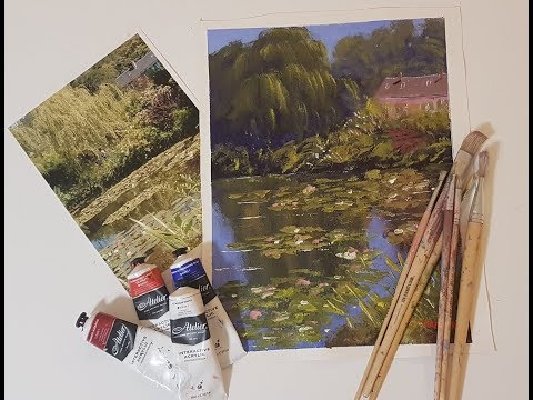 "Learn To Paint TV E29 ""Monets Home Giverny"" Acrylic Painting Landscape Tutorial"