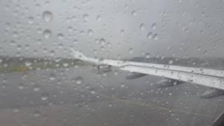 Heavy rain depature at Düsseldorf Airport with Lufthansa A330-300