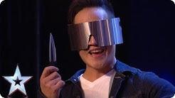 DANGER ALERT: Blindfolded magician THROWS A KNIFE at Dec!   Auditions   BGT 2018