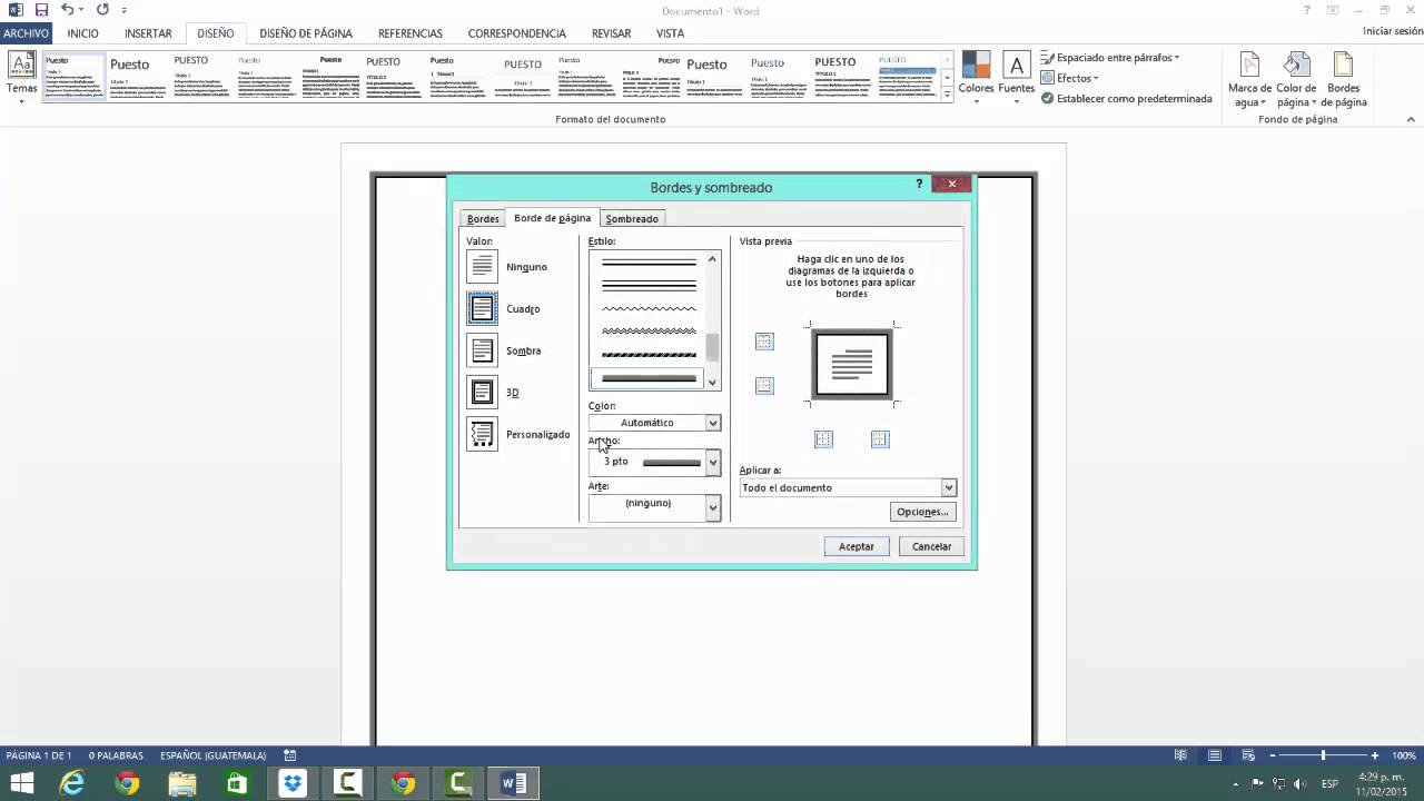 Insertar borde de pagina Word 2013 - YouTube