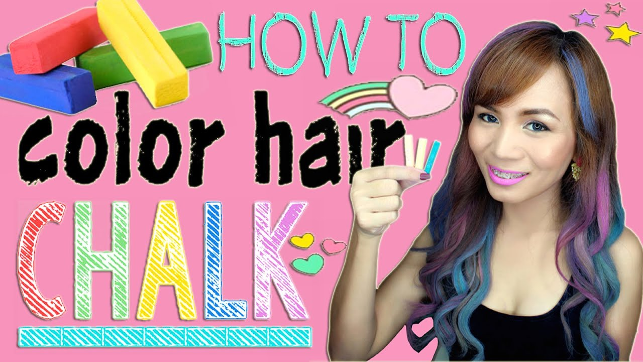 How To Color Hair Using Chalk Cheap And Easy Hair Hack Youtube