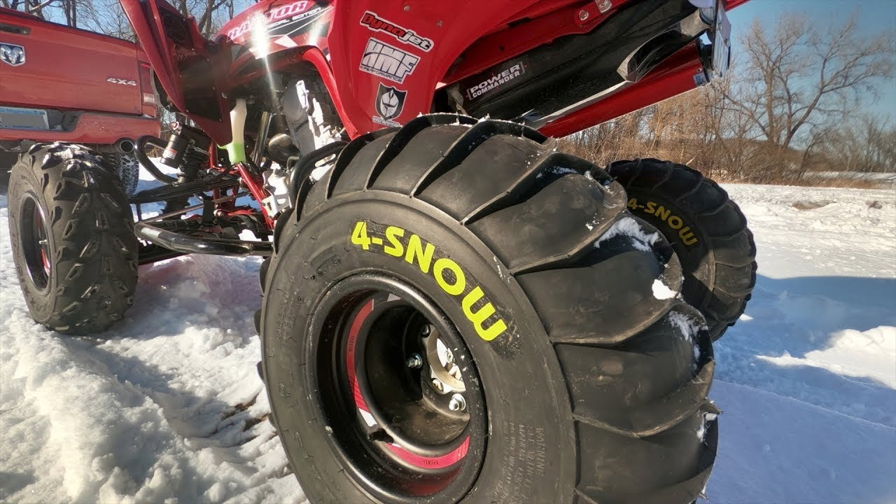testing the maxxis 4 snow winter tires with my raptor 700. Black Bedroom Furniture Sets. Home Design Ideas