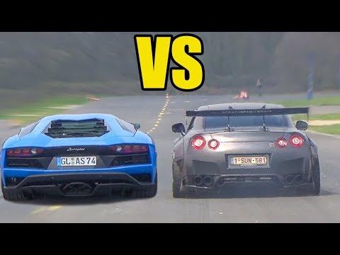 NISSAN GTR R35 vs LAMBORGHINI AVENTADOR  🚀*ACCELERATION SOUND*🚀