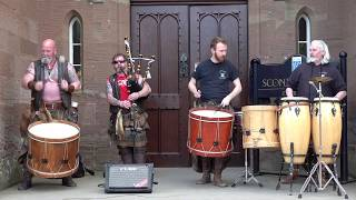 """Tribal King"" from Scottish tribal band Clann An Drumma at Scone Palace, Perth, Scotland May 2019"