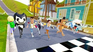 NEIGHBOR VS ICE SCREAM VS BENDY VS BALDI VS FREDDY VS GRANNY RACES - Hello Neighbor