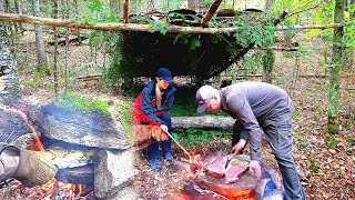 Bushcraft Overnight Build Shelter, Primitive Rock Oven, Cook Meat on Stone with my Wife and Dog