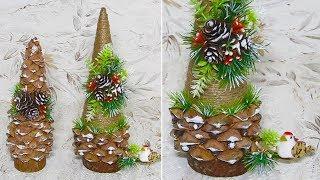 Новогодняя Ёлочка из джута. 2 Идеи новогодних поделок своими руками.