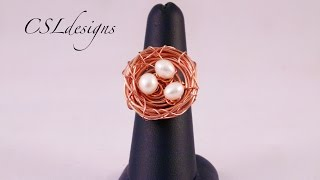Adjustable Wirework Birds Nest Ring | Easter