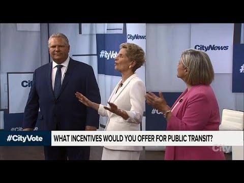 Leaders argue over Toronto transit at Ontario debate 2018