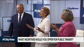 Leaders argue over Toronto transit at Ontario debate 2018