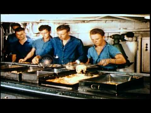 A Navy butcher, a cook, a pharmaceutical unit and a hospital on USS Yorktown; and...HD Stock Footage