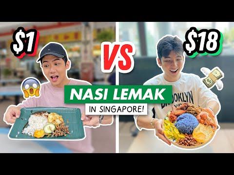 $1 vs $18 NASI LEMAK in Singapore (CHEAP vs EXPENSIVE)