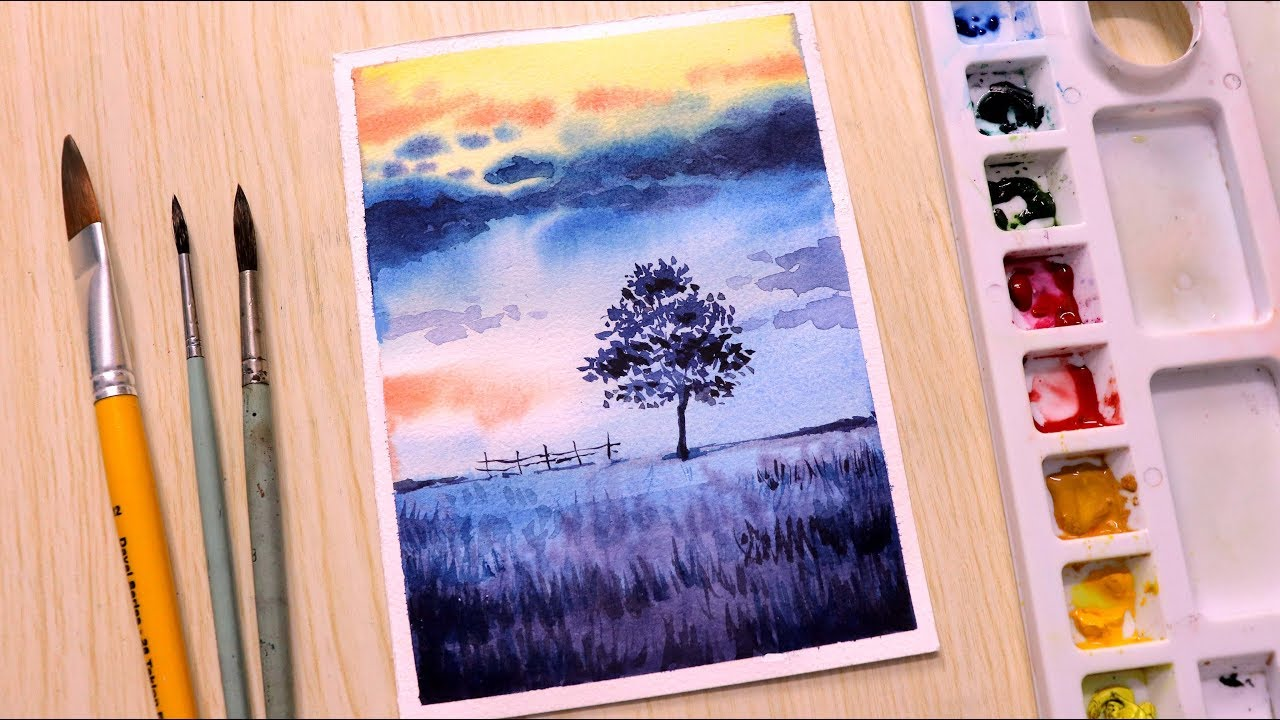 Painting Looks Like Wallpaper Simple Watercolor Painting Tutorial Of Nature Youtube
