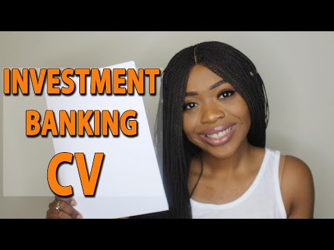 Talking You Through My Investment Banking CV