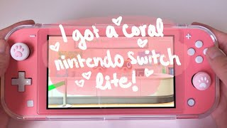 Coral Nintendo Switch Lite Unboxing!! (Spending money during quarantine)